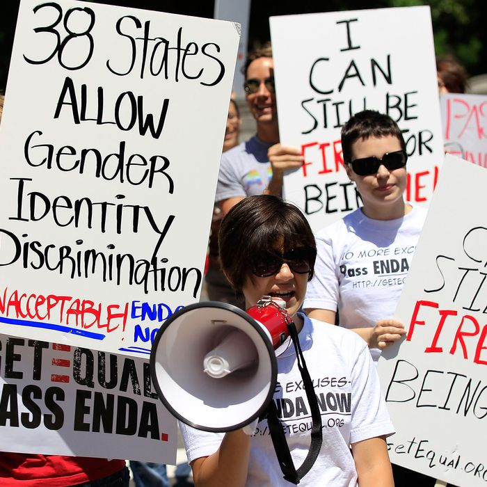 Members of GetEQUAL, a lesbian, gay, bisexual and transgender organization, stage a protest on Capitol Hill May 20, 2010 in Washington, DC. Activists call on Democratic congressional leaders to keep their promise to schedule a vote for the Employment Non-Discrimination Act (ENDA) this legislative year.
