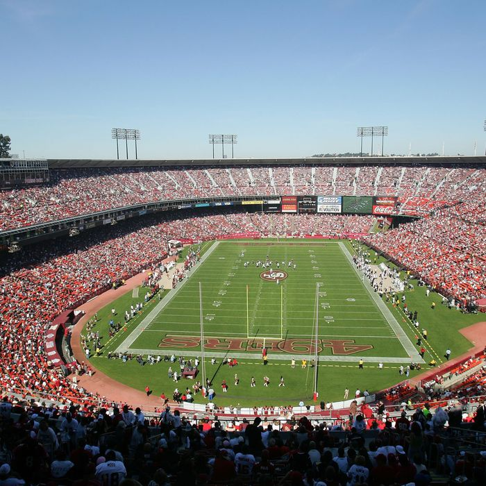 General view of the NFL game at Candlestick Park in San Francisco, California.