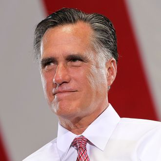 LAS VEGAS, NV - MAY 29: Republican presidential candidate, former Massachusetts Gov. Mitt Romney speaks during a campaign rally at Somers Furniture on May 29, 2012 in Las Vegas, Nevada. Mitt Romney is holding campaign event and attending a fundraiser hosted by Donald Trump in Las Vegas. (Photo by Justin Sullivan/Getty Images)