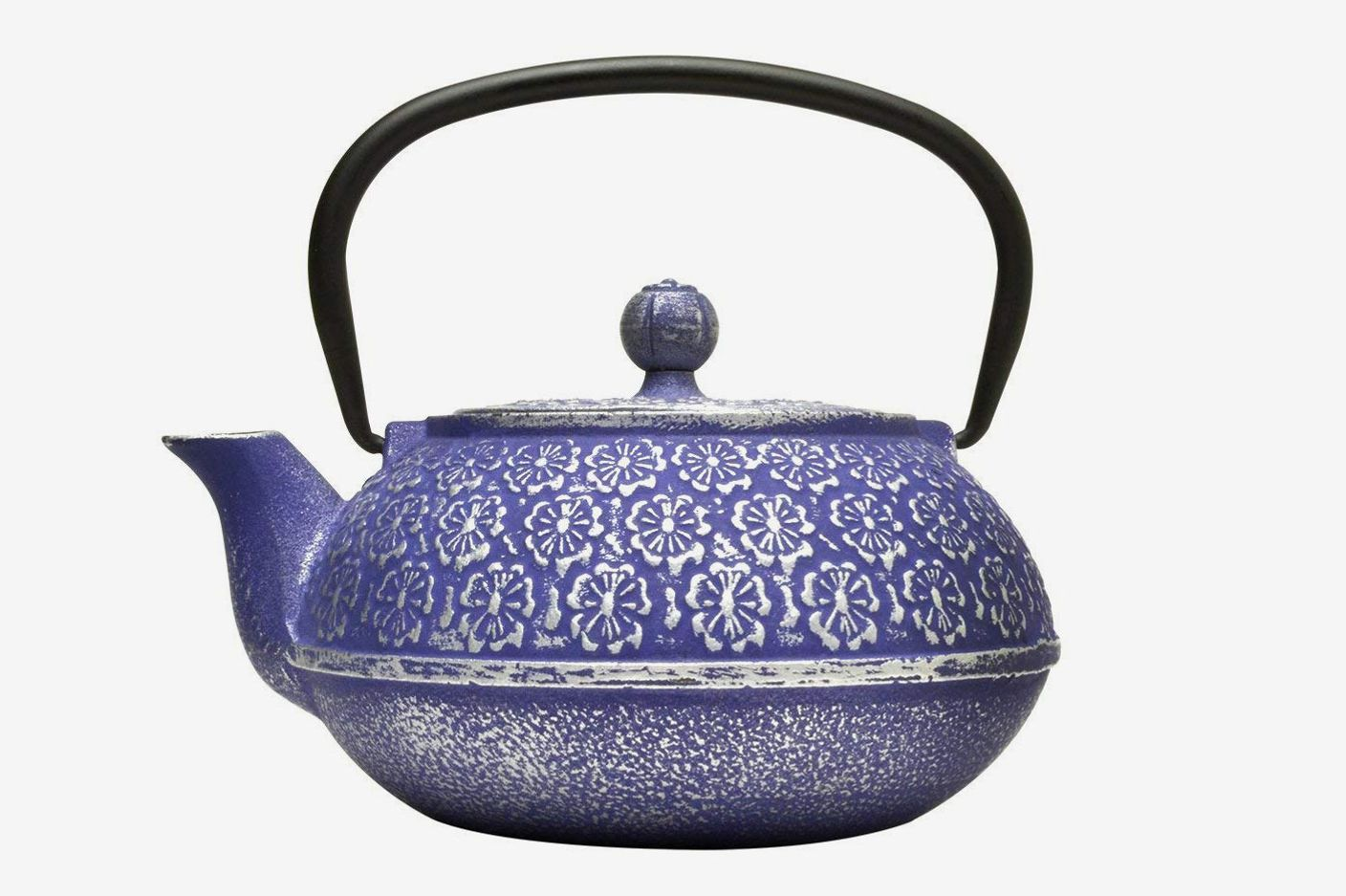 Primula Cast Iron Teapot Blue Floral Design