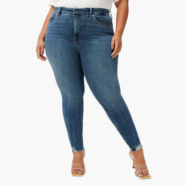 Good American Good Legs Chewed Hem Skinny Jeans