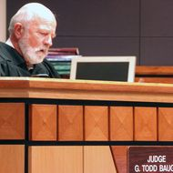 Montana District Judge G. Todd Baugh reads a statement in his Billings courtroom on Friday, Sept. 6, 2013, explaining his 30-day sentence for a teacher who raped a student. Baugh had sought a re-sentencing hearing for defendant Stacey Rambold, but was blocked by the state Supreme Court.
