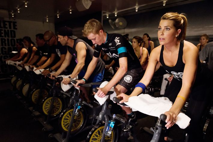 SoulCycle riders doing their thing.