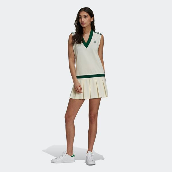 adidas Originals 'Tennis Luxe' logo V neck pleated dress