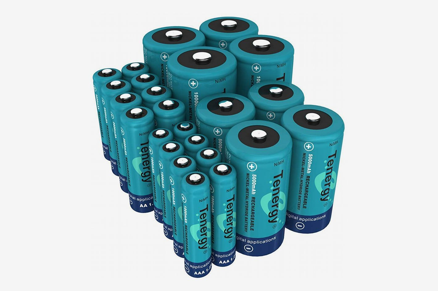 Tenergy Rechargeable Battery Combo Pack (24-Pack): AA (8-Pack), AAA (8-pack), C (4-Pack), and D (4-Pack)