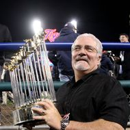 DETROIT, MI - OCTOBER 28:  Senior Vice President and General Manager Brian Sabean of the San Francisco Giants celebrates after the Giants defeat the Detroit Tigers to win Game Four of the Major League Baseball World Series at Comerica Park on October 28, 2012 in Detroit, Michigan. The San Francisco Giants defeated the Detroit Tigers 4-3 in the tenth inning to win the World Series in 4 straight games.  (Photo by Christian Petersen/Getty Images)