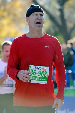 NEW YORK, NY - NOVEMBER 06:  Former New York Ranger Mark Messier reacts after finishing the the 42nd ING New York City Marathon on November 6, 2011 in New York City.  (Photo by Patrick McDermott/Getty Images)