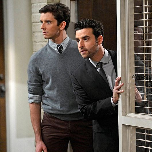 """Temporary Insanity"" Louis (Michael Urie, left) hires Wyatt to fill in as their assistant at the office when Ro-Ro goes on vacation, on PARTNERS, Monday, Nov. 12 (8:30-9:00 PM, ET/PT) on the CBS Television Network."