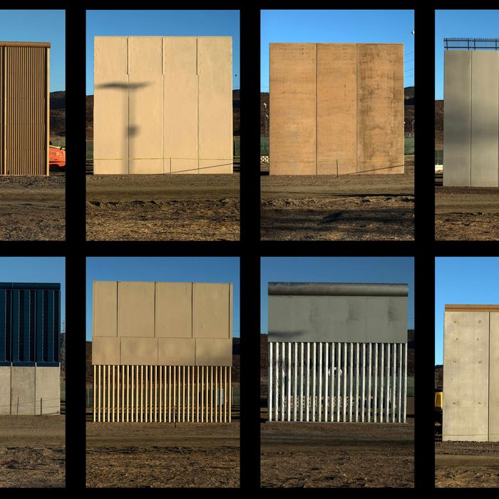 This combination of pictures shows the eight prototypes of US President Donald Trump's US-Mexico border wall being built near San Diego.