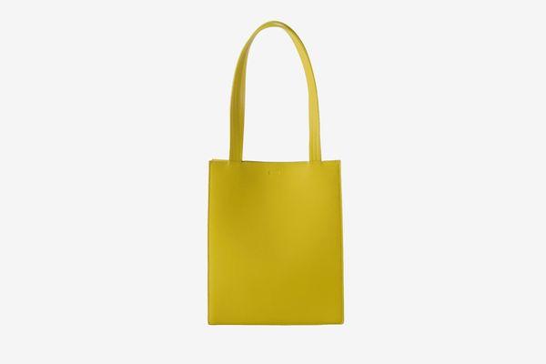 Baggu Medium Leather Retail Tote, Citron