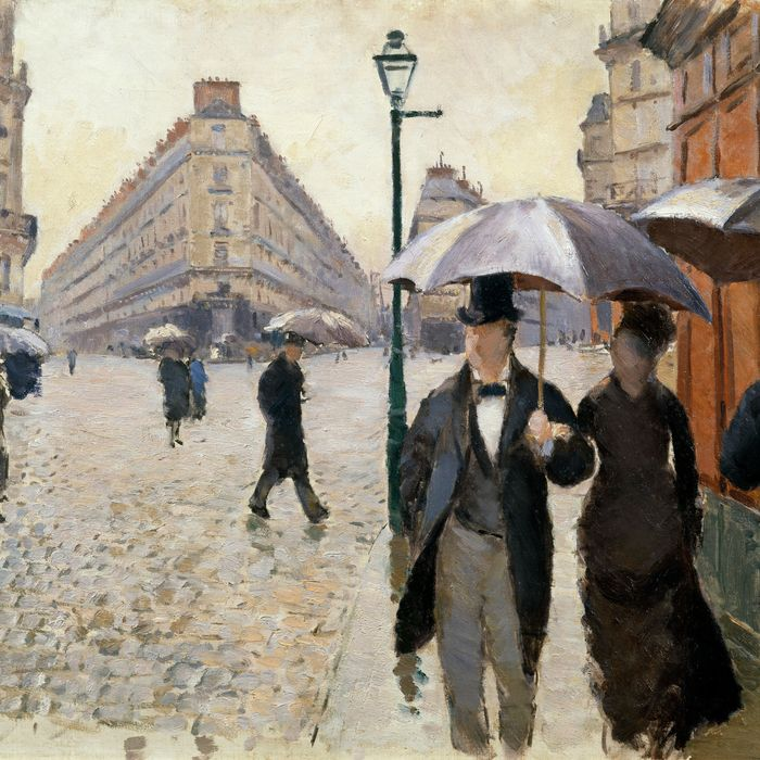 Gustave Caillebotte's <i>Paris Street; Rainy Day</i>.