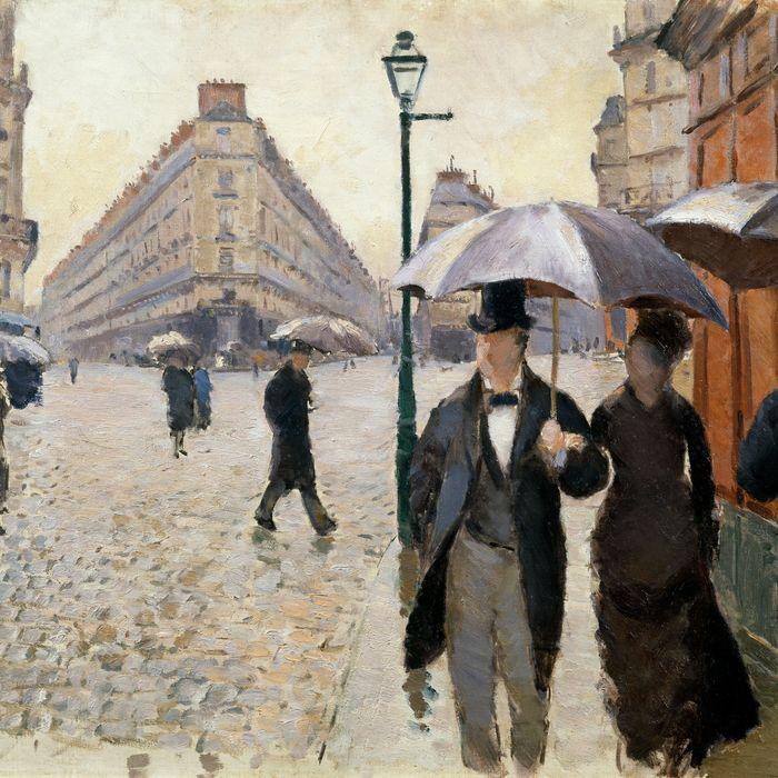 Gustave Caillebotte's <i>Paris Street; Rainy Day</i>.