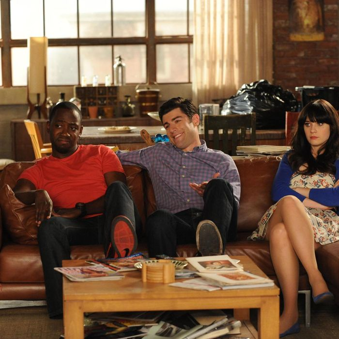 NEW GIRL: Winston (Lamorne Morris, L), Schmidt (Max Greenfield, C) and Jess (Zooey Deschanel, R) are faced with a tough decision in the season finale
