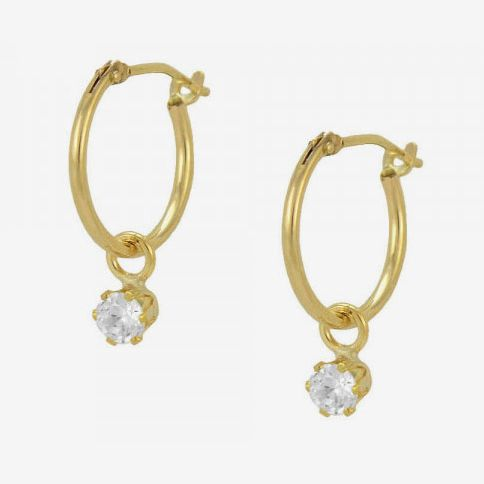 Loveivy 14K Yellow Gold Round CZ Girls Hoop Earrings