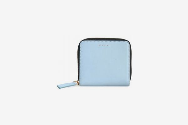 Marni Leather Wallet, Sky Blue