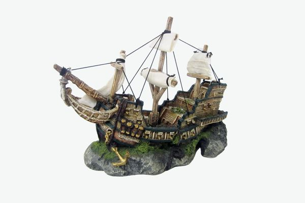 Top Fin Ship & Sail Bubbler Aquarium Ornament