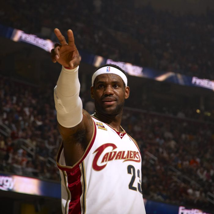 Cleveland Cavaliers LeBron James (23) victorious during game vs Boston Celtics. Game 1. Cleveland, OH.