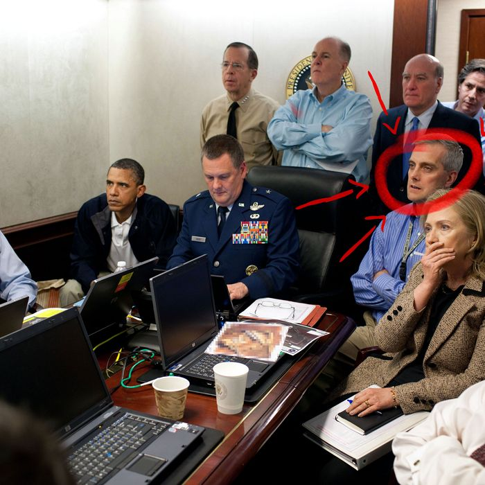 President Barack Obama and Vice President Joe Biden, along with with members of the national security team, receive an update on the mission against Osama bin Laden in the Situation Room of the White House, May 1, 2011. Please note: a classified document seen in this photograph has been obscured. (Official White House Photo by Pete Souza)This official White House photograph is being made available only for publication by news organizations and/or for personal use printing by the subject(s) of the photograph. The photograph may not be manipulated in any way and may not be used in commercial or political materials, advertisements, emails, products, promotions that in any way suggests approval or endorsement of the President, the First Family, or the White House.