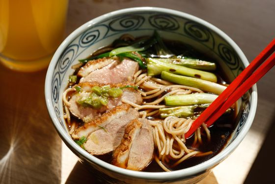 Kamo nanban: soba, sliced duck breast, dashi broth.