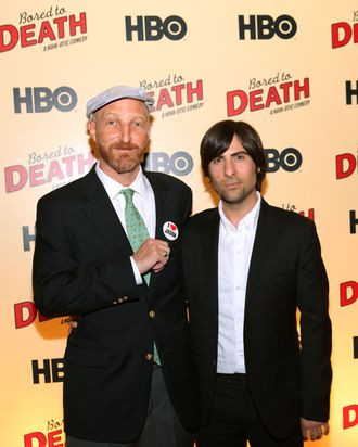 Jonathan Ames and Jason Schwartzman attend the premiere of HBO's
