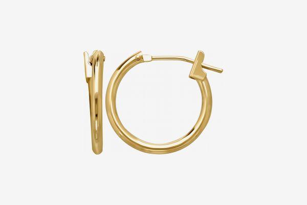 14K Yellow Gold 1.5mm x 15mm Hoop Earrings