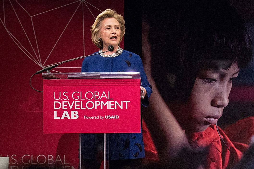 Former U.S. Secretary of State Hillary Clinton speaks at a launch event hosted by the U.S. Agency for International Development (USAID) for a new organization, the U.S. Global Development Lab, on April 3, 2014 in New York City. The U.S. Global Development Lab will bring together 32 partners from across the public, private and non profit sector with the goal of ending extreme poverty by 2030.