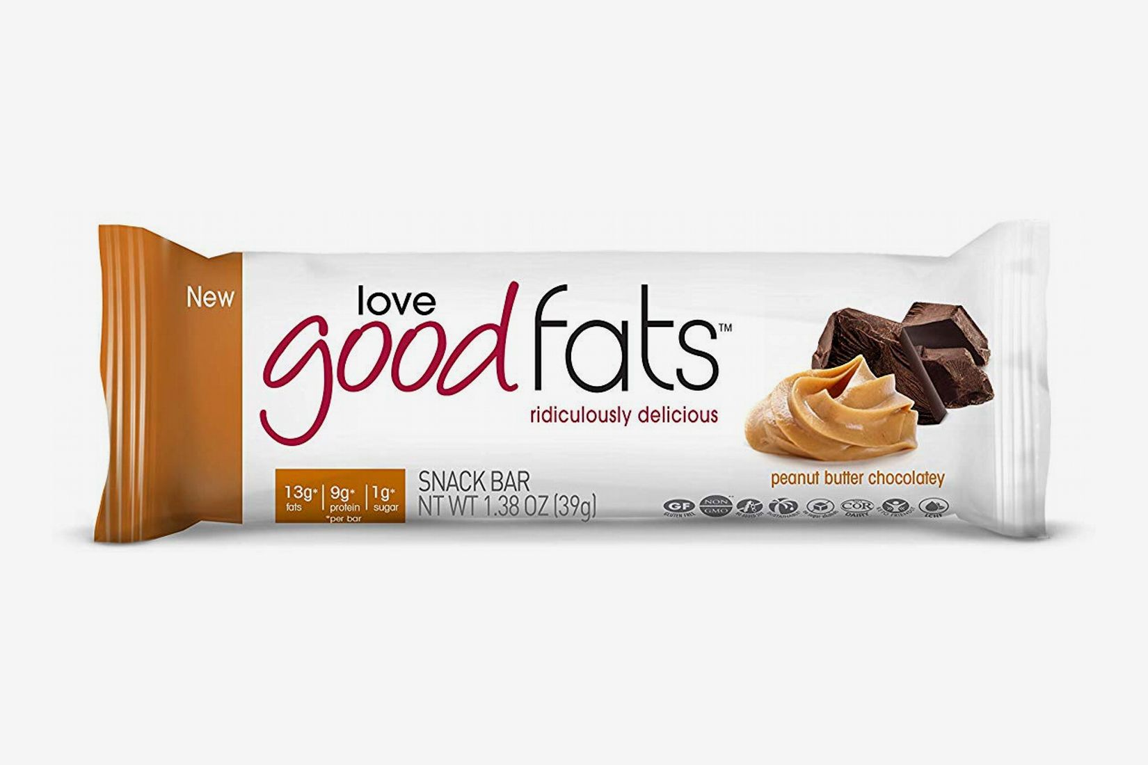 Love Good Fats Bars, Peanut Butter Chocolatey - Box of 12