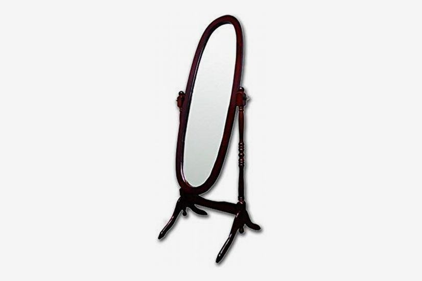 Roundhill Furniture Audi Traditional Queen Anna Style Black Wood Floor Cheval Mirror