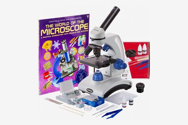 AmScope 40X-1000X Dual Light Optical Glass Lens All-Metal Framework Microscope