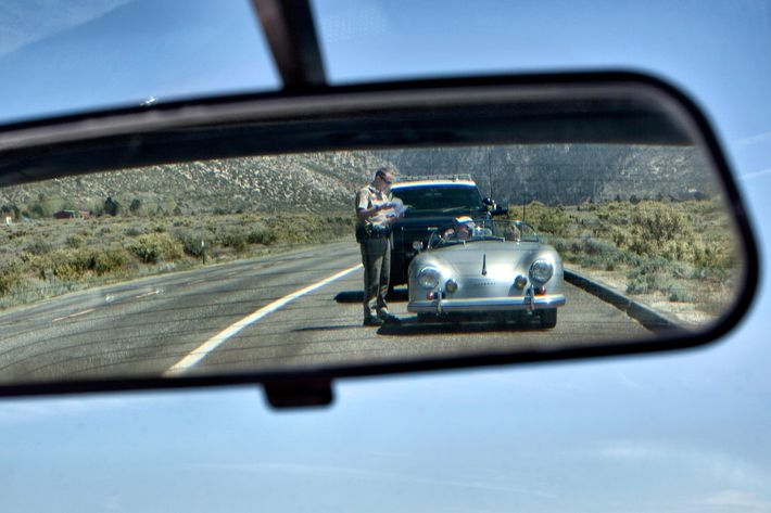 California Highway Patrol office issuing a speeding ticket