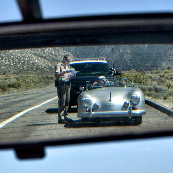 California Highway Patrol office issuing a speeding ticket
