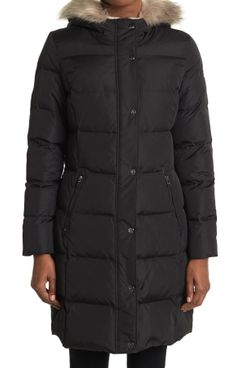 Lauren Ralph Lauren Faux Fur Trim Hooded Puffer Jacket