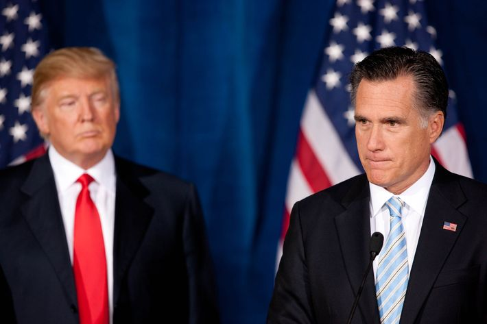 Donald Trump announces his edorsement of Mitt Romney at Trump Resort in Las Vegas, NV on February 2, 2012