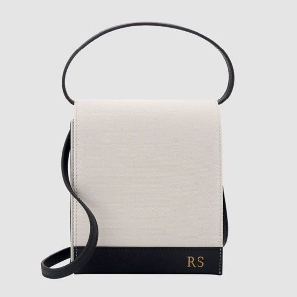 The Daily Edited White and Black Small Canvas Top Handle