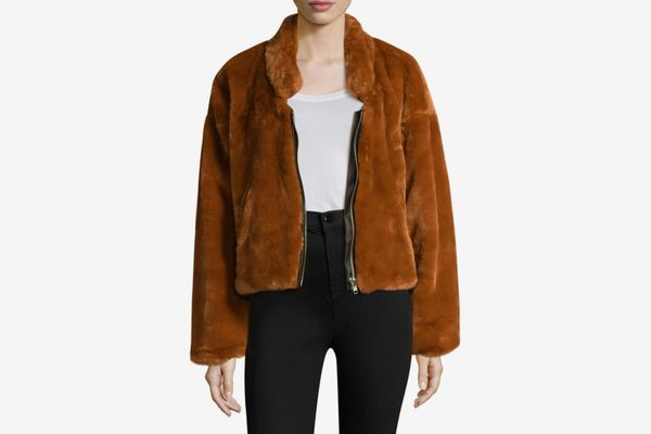 Free People Furry Faux Fur Bomber Jacket
