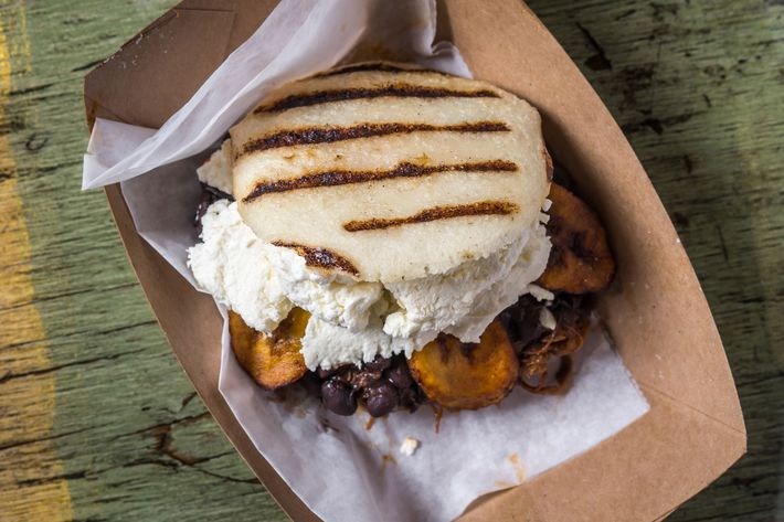 Another shot of the Pabellon arepa, nice and toasty.