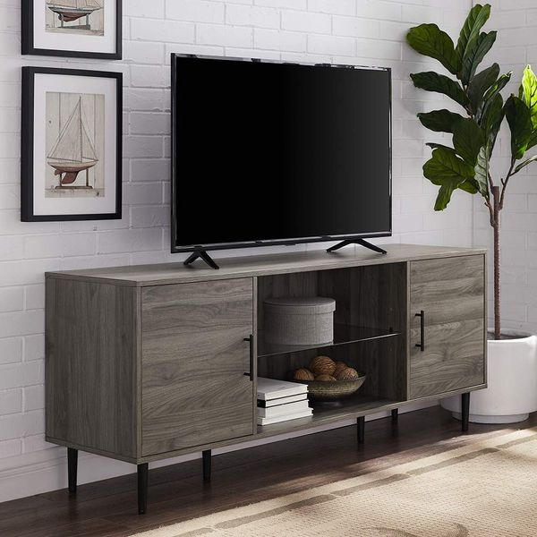 WE Furniture Slate-Gray TV Stand, 60 Inches Wide