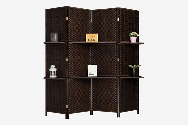 Rose Home Fashion Extra Wide Diamond Room Divider, 4 Panels and 2 Shelves, Dark Mocha