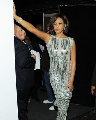 BEVERLY HILLS, CA - FEBRUARY 12: (EXCLUSIVE COVERAGE) Singer Whitney Houston attends the 2011 Pre-GRAMMY Gala and Salute To Industry Icons Honoring David Geffen at Beverly Hilton on February 12, 2011 in Beverly Hills, California. (Photo by Larry Busacca/Getty Images For The Recording Academy) *** Local Caption *** Whitney Houston