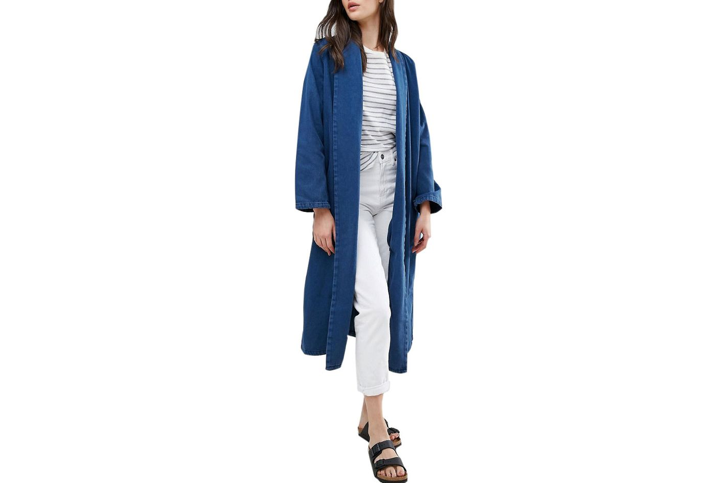 Waven Anja Flap Collar Denim Duster Coat