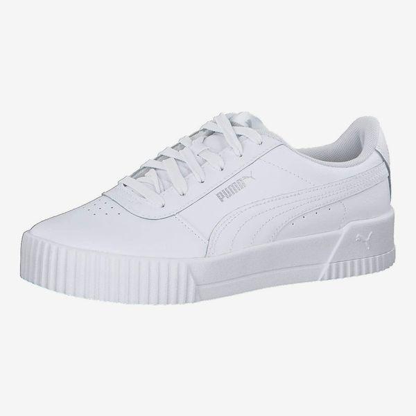 PUMA Women's Carina L Sneakers, White White Silver,