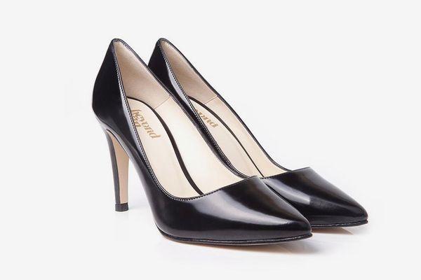 Beyond Skin Lexie Black Faux Leather Vegan Stilettos