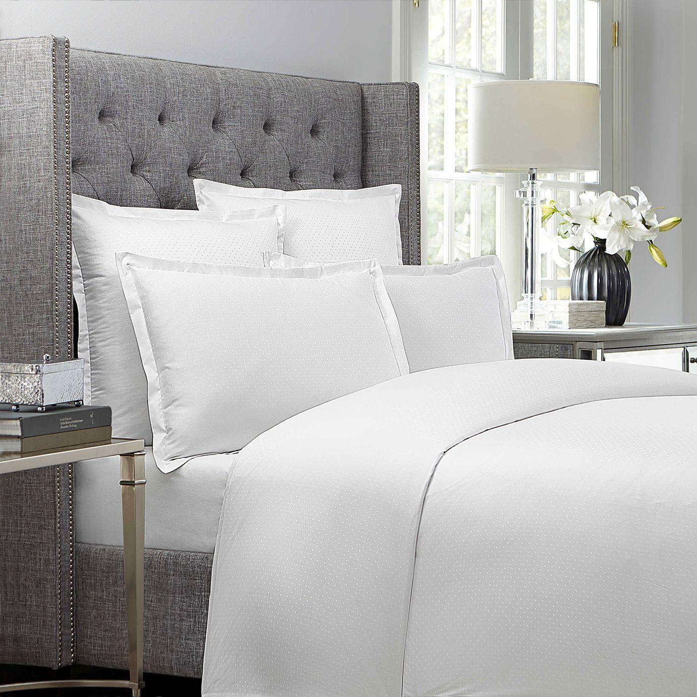 Wamsutta 620-Thread-Count Dot Duvet Cover in White