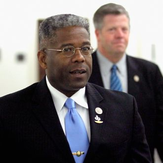 Rep. Allen West (R-FL) (L) arrives for a meeting with former Speaker of the House Newt Gingrich (R-GA) in the Longworth House Office Building on Capitol Hill March 31, 2011 in Washington, DC. Gingrich met with about 20 freshmen Republican members of Congress and discussed ways to repeal the healthcare reform law, which he calls