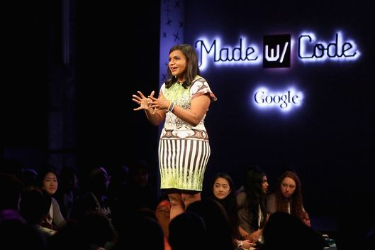 "Mindy Kaling speaks on stage at the ""Google's Made With Code"" Launch Event To Inspire Girls To Code Hosted By Mindy Kaling And Featuring Chelsea Clinton at Skylight Modern on June 19, 2014 in New York City."