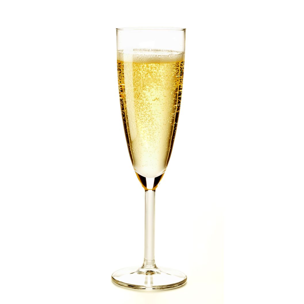 A glass of sparkling champagne.