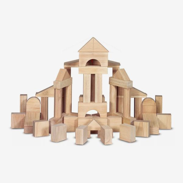 Melissa & Doug Solid-Wood Building Blocks With Wooden Storage Tray