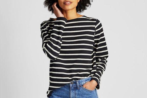 Uniqlo Striped Boat Neck Long-Sleeve T-shirt