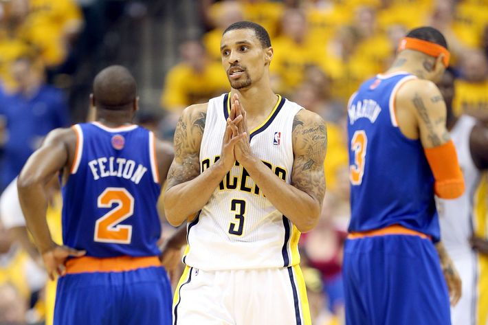 INDIANAPOLIS, IN - MAY 18:  George Hill #3 of the Indiana Pacers reacts during the game against the New York Knicks during Game Six of the Eastern Conference Semifinals of the 2013 NBA Playoffs at Bankers Life Fieldhouse on May 18, 2013 in Indianapolis, Indiana. NOTE TO USER: User expressly acknowledges and agrees that, by downloading and or using this photograph, User is consenting to the terms and conditions of the Getty Images License Agreement.  (Photo by Andy Lyons/Getty Images)