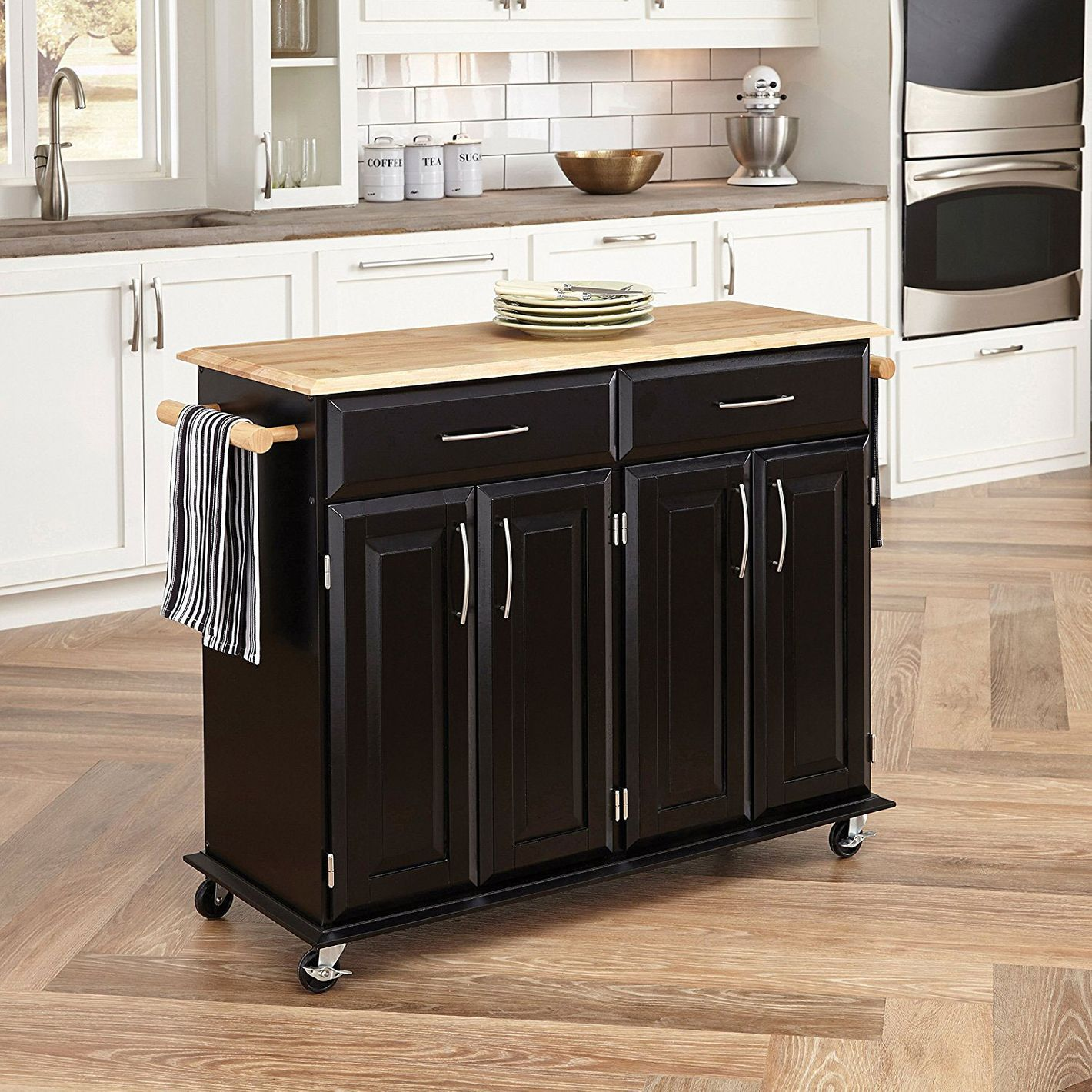 Butcher Block Island With Two Drawers Home Styles 4528 95 Dolly Madison Kitchen Cart Black Finish